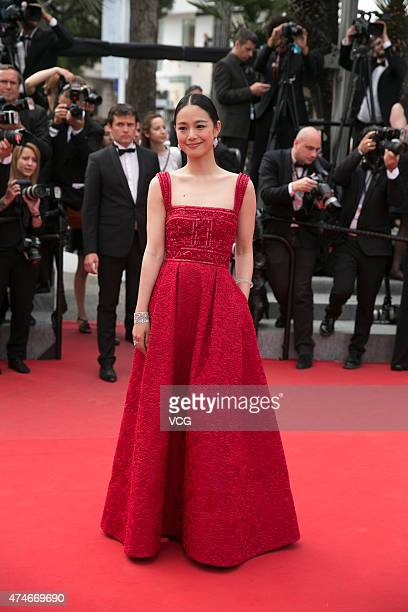 Chinese actress Zhou Yun attends the closing ceremony and 'Le Glace Et Le Ciel' Premiere during the 68th annual Cannes Film Festival on May 24 2015...