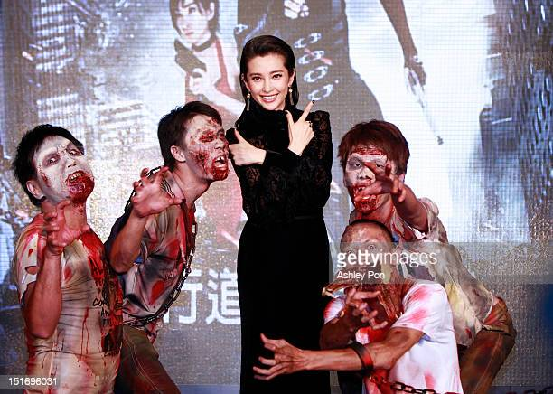 Chinese actress/singer Li Bingbing poses for a photograph at the 'Resident Evil 5 Retribution' premiere on September 10 2012 in Taipei Taiwan