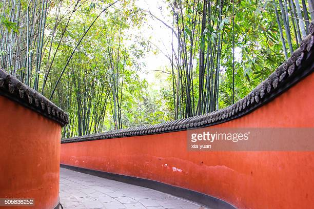 Chinese Alley With Red Wall and Green bamboo in Wuhou Temple,Chengdu,Sichuan Province,China
