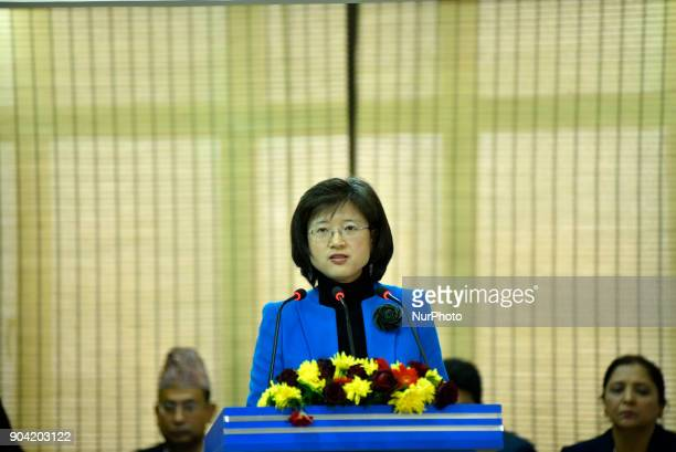 Chinese Ambassador to Nepal Yu Hong giving speech during Inauguration of Nepal China Crossborder Optical Fiber Link between Nepal Telecom amp China...