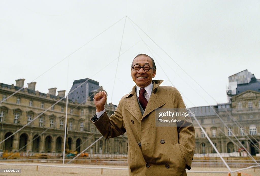 Architect I.M. Pei at Louvre Pyramid Site : News Photo