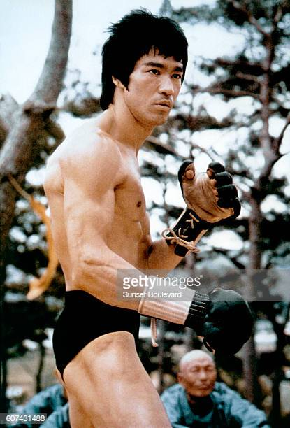 Chinese American martial artist actor director and screenwriter Bruce Lee on the set of his movie Meng Long Guo Jiang