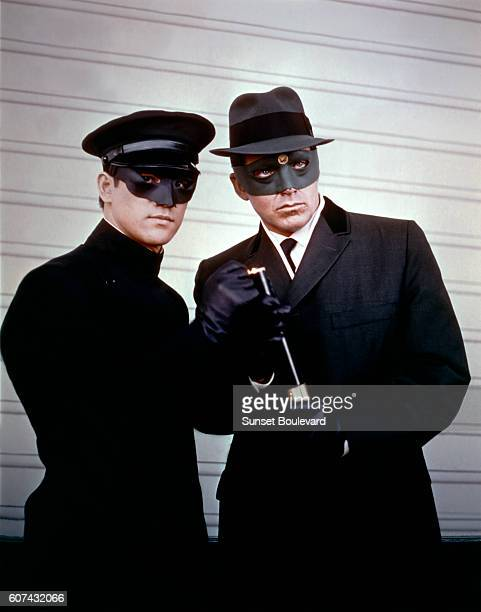 Chinese American martial artist and actor Bruce Lee and American actor Van Williams on the set of TV series The Green Hornet created by George W...
