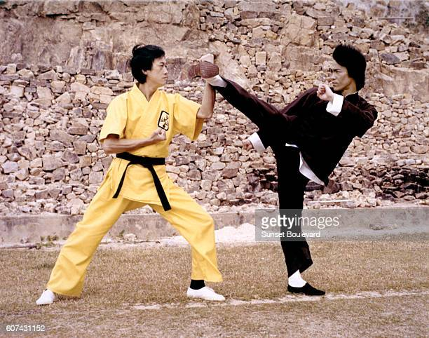 Chinese American martial artist and actor Bruce Lee on the set of Enter the Dragon directed by Robert Clouse
