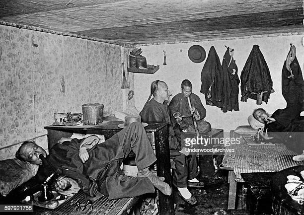 Chinese Americans in an opium den San Francisco California circa 1890
