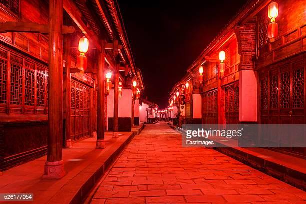 Chinese ancient town illuminated at night