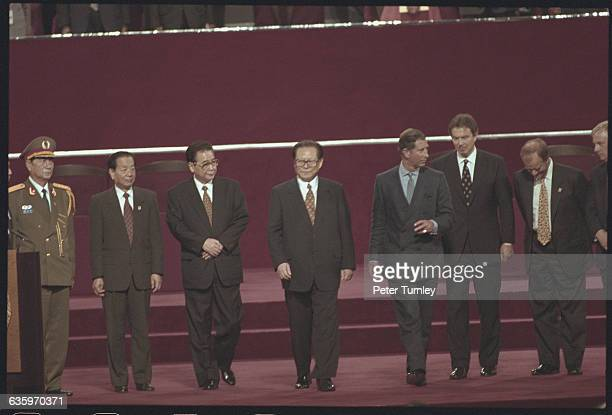 Chinese and British Leaders at the 1997 Hong Kong Handover Ceremony