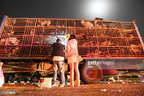 Chinese animal lovers gather to stop a convoy of trucks carrying some 500 dogs to be sold as meat along a highway in Beijing on early April 17 and...