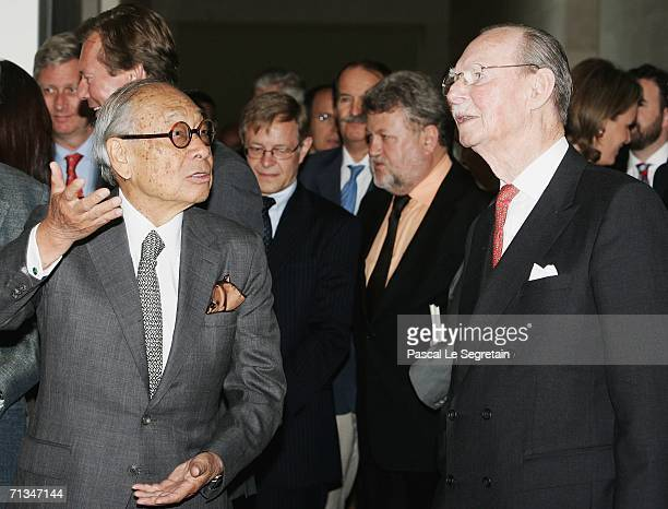 Chinese Architect Leoh Ming Pei speaks with Grand Duc Jean of Luxembourg during the inauguration of the Grand Duke Jean Modern Art Museum on July 1...