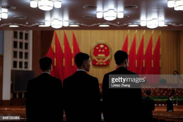 Chinese armed police guards inside the Great Hall of the People before the opening session of the National People's Congress on March 5 2017 in...