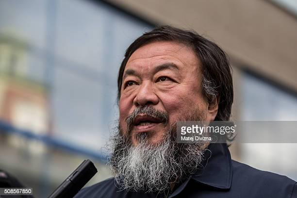 Chinese artist Ai Weiwei attends a gathering with media in front of the Trade Fair Palace run by the National Gallery on February 5 2016 in Prague...