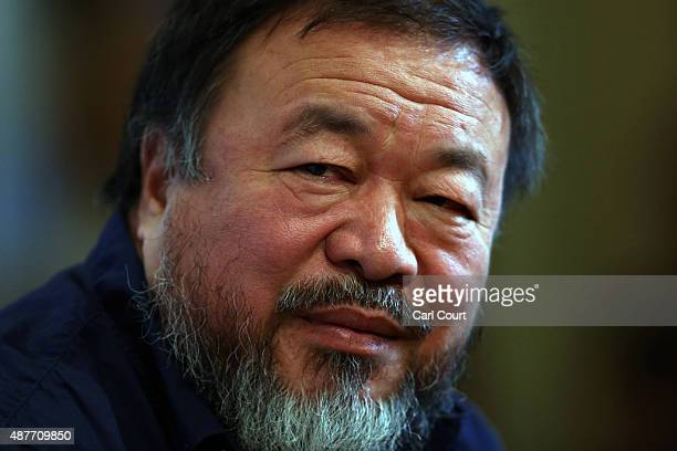 Chinese artist Ai Weiwei attends a press conference at the Royal Academy of Arts on September 11 2015 in London England Ai Weiwei spoke to the media...