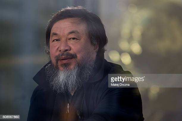 Chinese artist Ai Weiwei prepares for an interview with Czech Television at the Trade Fair Palace run by the National Gallery on February 5 2016 in...