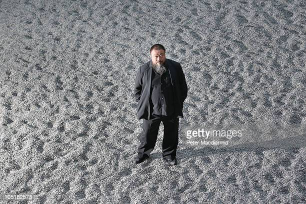 Chinese Artist Ai Weiwei stands on his Unilever Installation 'Sunflower Seeds' at The Tate Modern on October 11 2010 in London England The sculptural...