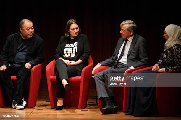 Chinese artist and director Ai Weiwei CoFounder and CEO of Help Refugees Josie Naughton Lord Alfred 'Alf' Dubs and Diana Legacy Award winner Maya...