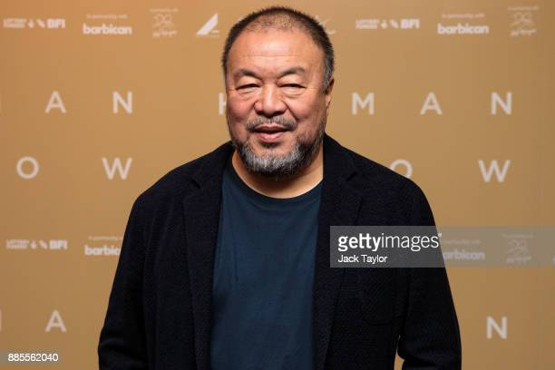 Chinese artist and director Ai Weiwei poses as he arrives for the Human Flow Premiere at Milton Court Concert Hall on December 4 2017 in London...