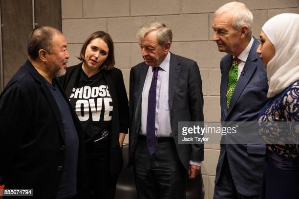 Chinese artist and director Ai Weiwei talks with CoFounder and CEO of Help Refugees Josie Naughton Lord Alfred 'Alf' Dubs journalist Jon Snow and...