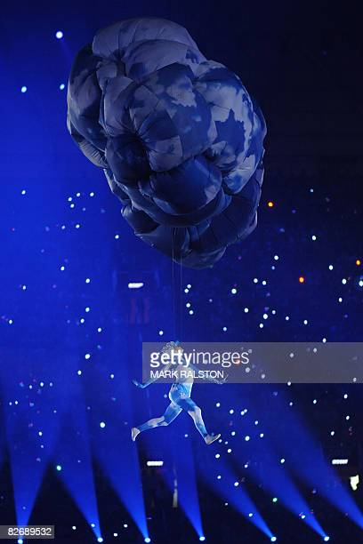 A Chinese artist performs at the National Stadium during the opening ceremony of the 2008 Beijing Paralympic Games in the Chinese capital on...