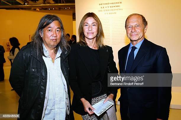 Chinese Artist Yan Pei Ming Nathalie BlochLaine and JeanClaude Meyer attend the 'Marcel Duchamp La Peinture Meme' Exhibition Press Preview Held at...