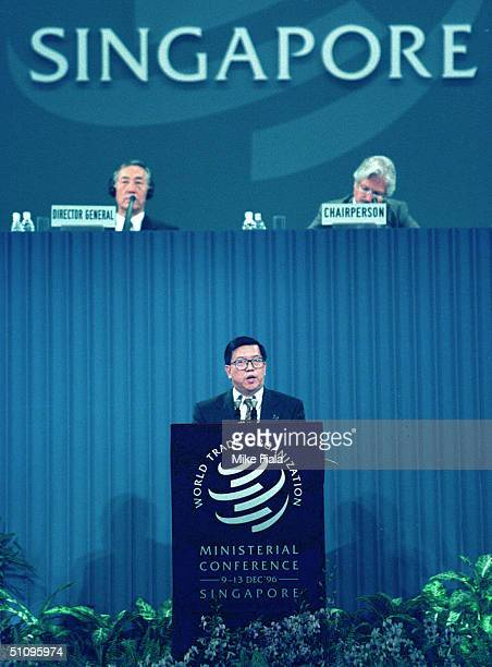 Chinese Assistant Foreign Trade And Economic Minister Long Yongtu Addresses The World Trade Organization Ministerial Conference In Singapore Thursday...