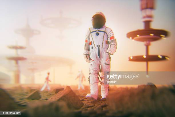 chinese astronauts colonizing exo planet - space station stock photos and pictures