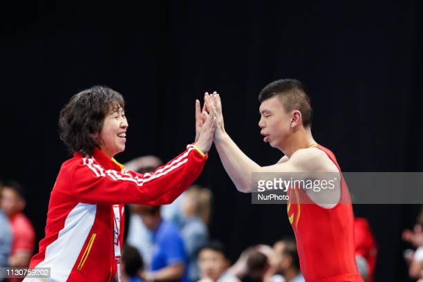 Chinese athlete compete in Artistic Gymnastics disciplines during Special Olympics World Games in Abu Dhabi National Exhibition Centre United Arab...