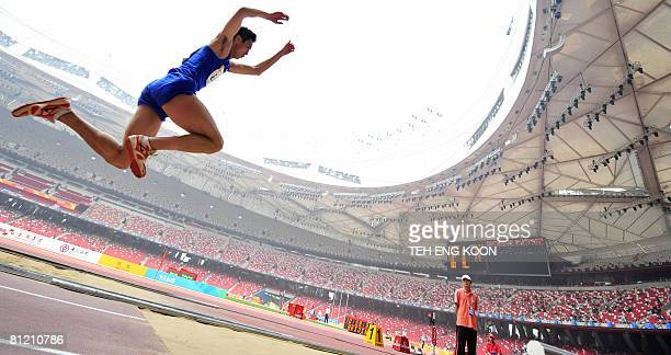Chinese athlete competes in the men's triple jump during the China Athletics Open on May 23, 2008 at Beijing National stadium also known as the...