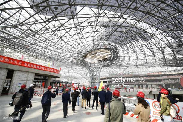 Chinese authorities open a new airport under construction in southern Beijing to the press on Oct 16 2017 The construction will complete in 2019...