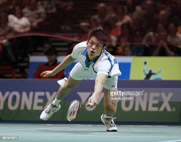 Chinese badminton player Dan Lin plays against Dane Kenneth Jonassen in the quarter finals of the mens singles during the Yonex All England Open...