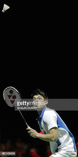 Chinese badminton player Dan Lin plays against Dutch Eric Pang from in a Mens Singles game during the 2008 Yonex All England Championships at the...