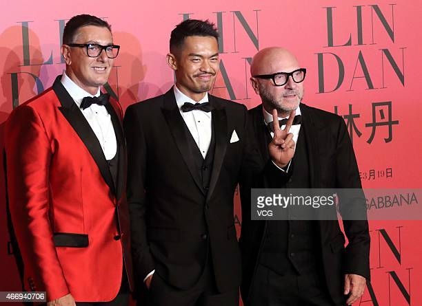Chinese badminton player Lin Dan Italian designers Stefano Gabbana and Domenico Dolce attend Dolce Gabbana cocktail party at Shanghai Exhibition...