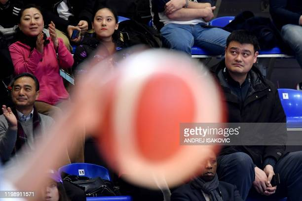 Chinese basketball player Yao Ming watches the FIBA Women's Olympic Qualifying Tournament match between China and Britain on February 6 in Belgrade