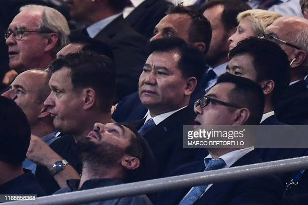 Chinese billionaire entrepreneur and majority shareholder of Inter Milan, Jindong Zhang and his son, Inter Milan chairman Steven Zhang attend the...