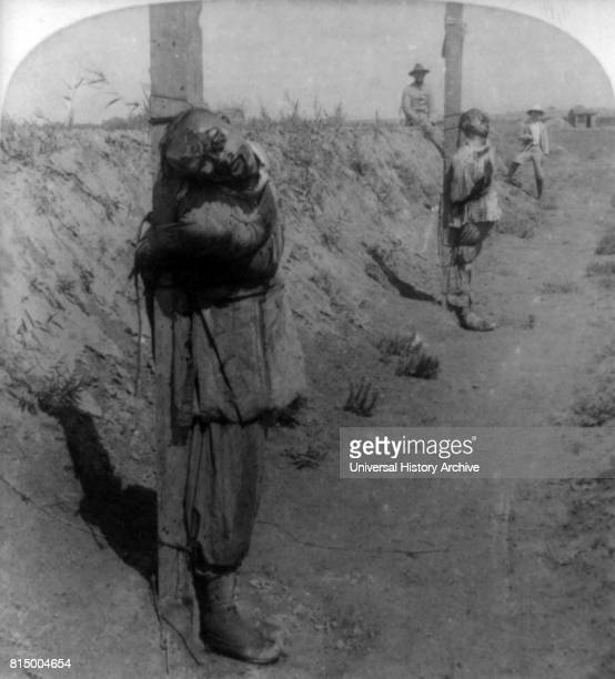 Chinese Boxer prisoners executed at Tientsin China during the suppression of the Boxer Rebellion 1901