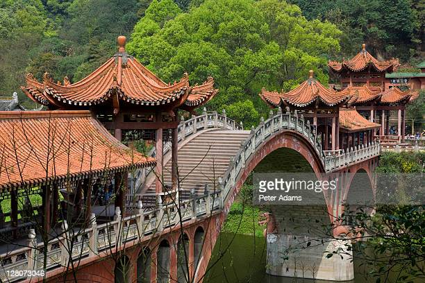 chinese bridge over dadu min river, leshan, near chengdu, sichuan, china - peter adams stock pictures, royalty-free photos & images