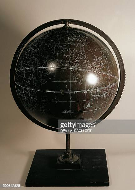 Chinese bronze globe late 17th century pedestal of a later period contemporary meridian circle aroung the globe diameter 39 cm