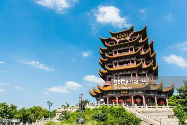 chinese building on sunny day - wuhan city stock photos and pictures