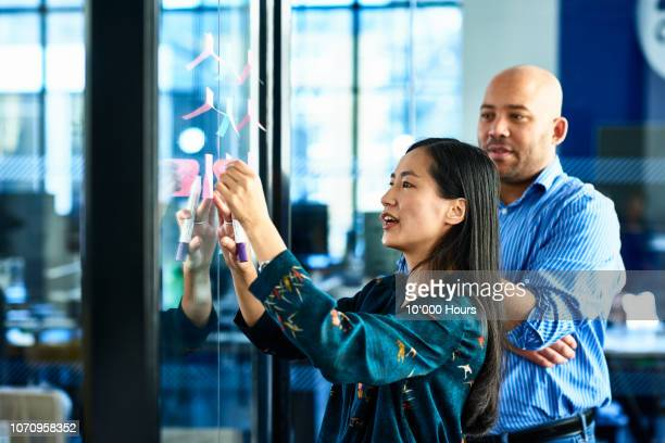 chinese businesswoman sticking notes on glass with colleague - brainstormen stockfoto's en -beelden