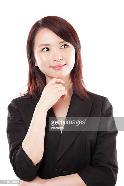 Chinese Businesswoman Thinking with Hand on Chin White Background
