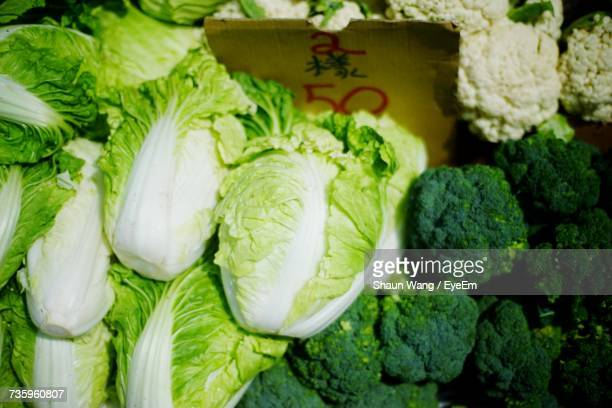 Chinese Cabbages And Broccolis At Market For Sale