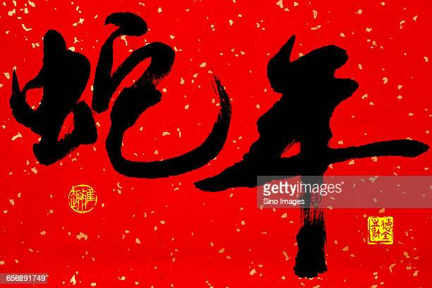 Chinese Calligraphy Reading The Year of Snake