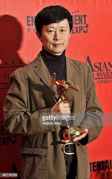 Chinese Cao Jiuping jointly wins Best Production Designer for The Sun Also Rises at the Asian Film Awards 2008 in Hong Kong China