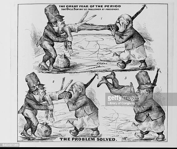 A Chinese cartoon figure swallows two men in three sketches The captions read 'The Great Fear of the Period That Uncle Sam May Be Swallowed by...