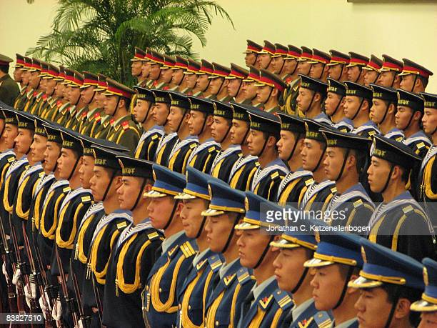 A Chinese ceremonial guard awaits the arrival of the South African President Thabo Mbeki in the Great Hall of the People during Mbeki's visit to...