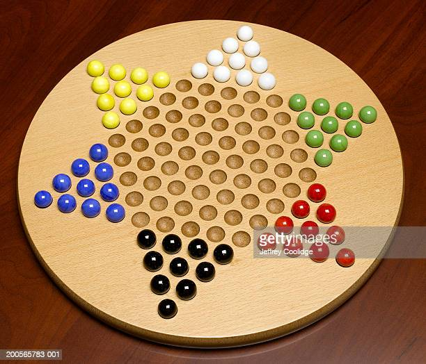 chinese checkers, elevated view, close-up - chequers stock pictures, royalty-free photos & images
