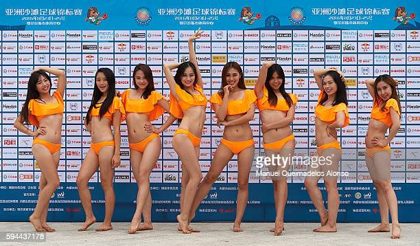 Chinese cheerleaders pose during the Continental Beach Soccer Tournament match between China and Vietnam at Municipal Sports Center on August 23 2016...