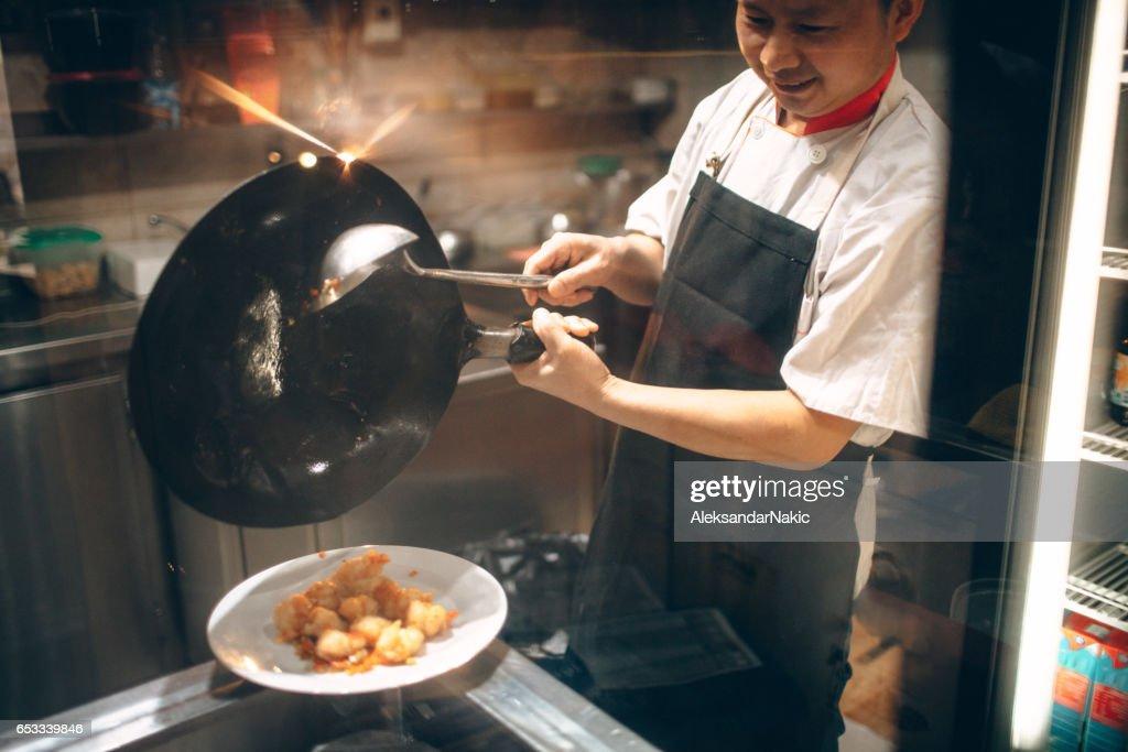 Chinese chef-kok koken : Stockfoto
