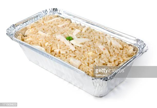 Chinese chicken fried rice meal in a metal takeaway tray