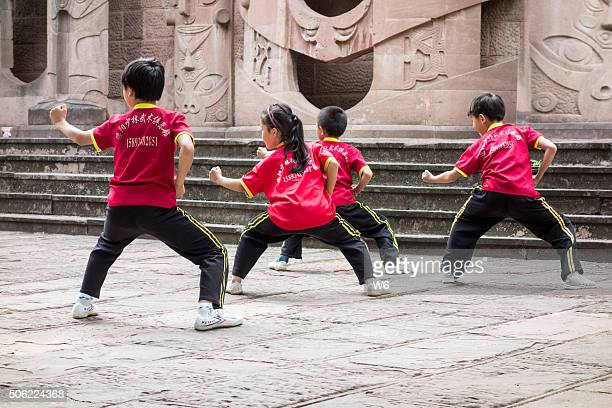 Chinese children training Kung Fu