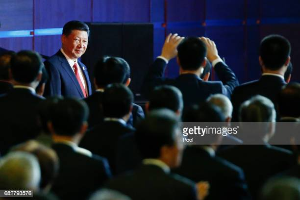 Chinese Chinese President Xi Jinping arrives at the opening ceremony of the Belt and Road Forum on May 14 2017 in Beijing China The Belt and Road...